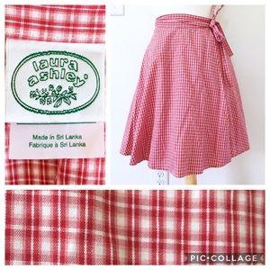 90s Laura Ashley Red Plaid Wrap Mini Skirt